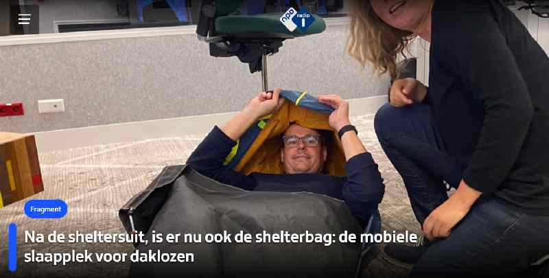 Radio-interview op NPO1: Met Bas Timmer en Joy Falkena met belevenissen rondom de sheltersuits/bags.